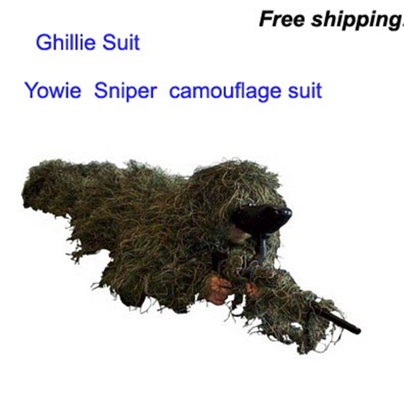 Forest Camouflage Ghillie Suit grass type hunting clothing yowie Sniper 3D bionic clothes suit add suit