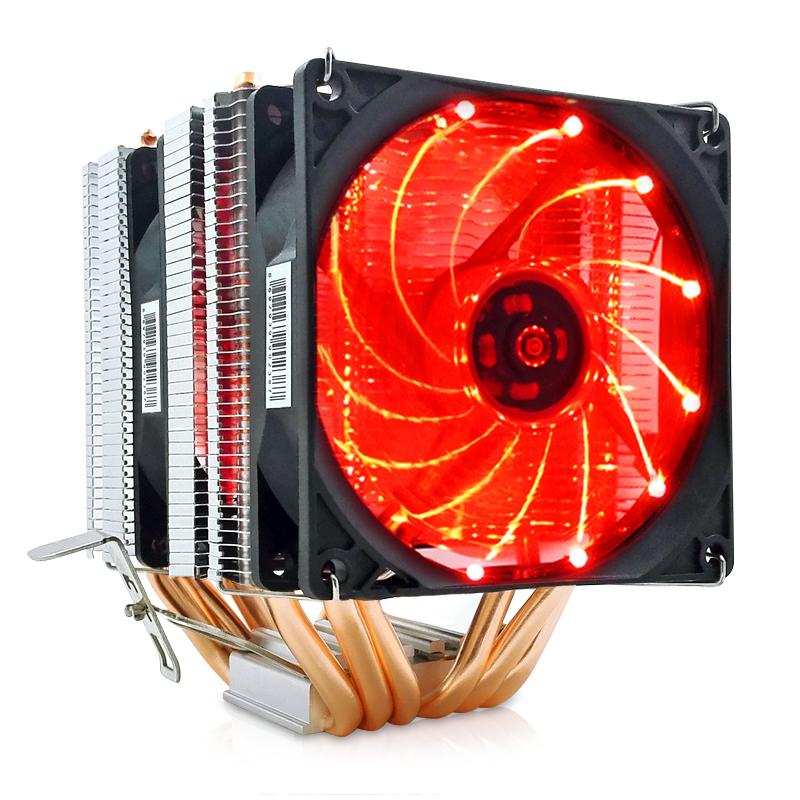 Dual LED CPU Cooler 6 Heat Pipe CPU Radiator Cooler Fan Heat Sinks Pipes Heat Exchanger with Fan CPU Ventilador Enfriador