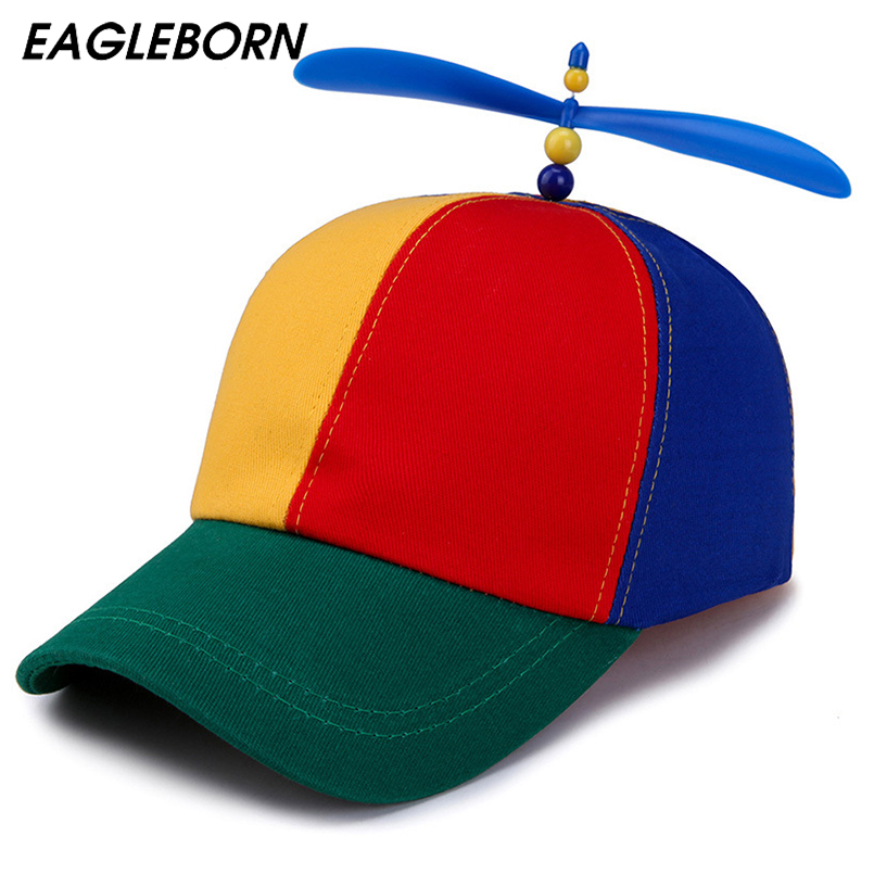 EAGLEBORN Summer Child Adult Adjustable Propeller Ball   Baseball     Cap   Dragonfly Top Multi-Color Patchwork Funny Lovely 52-57cm