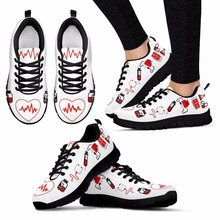 doginthehole Women Flats Shoes Fashion Design Nurse Heart Print Casual Womens Sneakers Female Footwear Comfortable Zapatos New