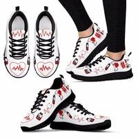doginthehole Women Flats Shoes Fashion Design Nurse Heart Print Casual Women's Sneakers Female Footwear Comfortable Zapatos New