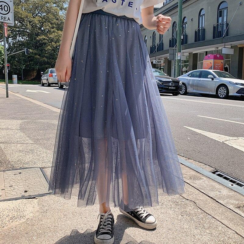 2019 Лето Новое поступление пайетки сшитая Тюлевая юбка фея Faldas Largas Elegantes Женская длинная юбка черная Бесплатная доставка