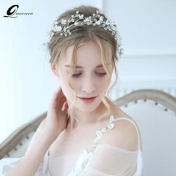 Tiara srebrne ozdoby do włosów ślubne dodatki do włosów korona wianek dla panny młodej biała porcelanowa z kwiatem biżuteria ozdoby damskie tanie i dobre opinie Queenco Ze stopu cynku Kobiety FD1228 PLANT Archiwalne Opaski Hairwear Moda Kryształ silver Clear crystal pearl White porcelain flower