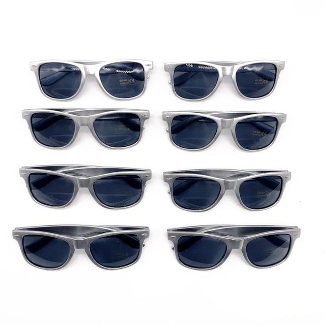 08ad4095ec413 48 Pairs lot Wholesale Unisex 80 S Retro Style Bulk Lot Promotional Silver Sunglasses  Wedding Favor