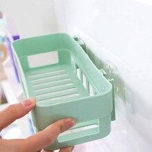 Настенный пластиковый стеллаж для хранения в ванной, органайзер для макияжа, косметическая полка для душа, кухонный держатель