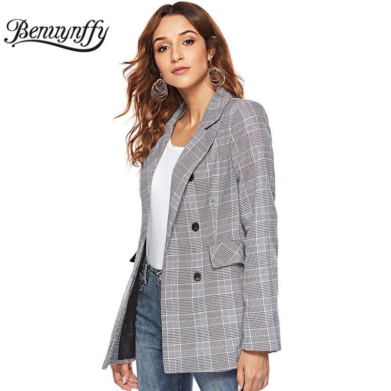 Benuynffy Autumn winter Fashion Double Breasted Plaid Blazer Coat Office Lady Elegant Workwear Women Blazers Casual Outwear