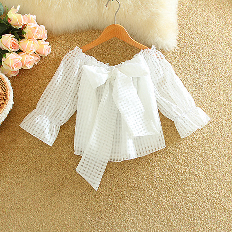 Kawaii off shoulder blouse women 2020 Korean fashion summer tops ladies front bow tie crop top cute plaid shirts chemisier femme