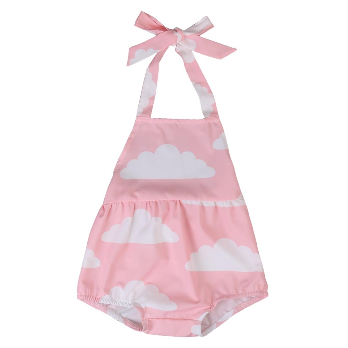 Helen115 Lovely Newborn Baby Girl Cartoon Cloud Sleeveless Leak Back Belt Bodysuit 0-18M