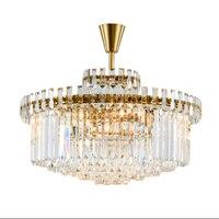 Postmodern K9 Crystal Lustre Gold Color Ceiling Lights Living Room Restaurant Lamp Bedroom Crystal Lighting Fixtures