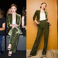 Women One Button Velvet Blazer Top + Long Flannel Pant Suit Casual Office Business Green Velvet Suit Outfit Two Piece Set Y219
