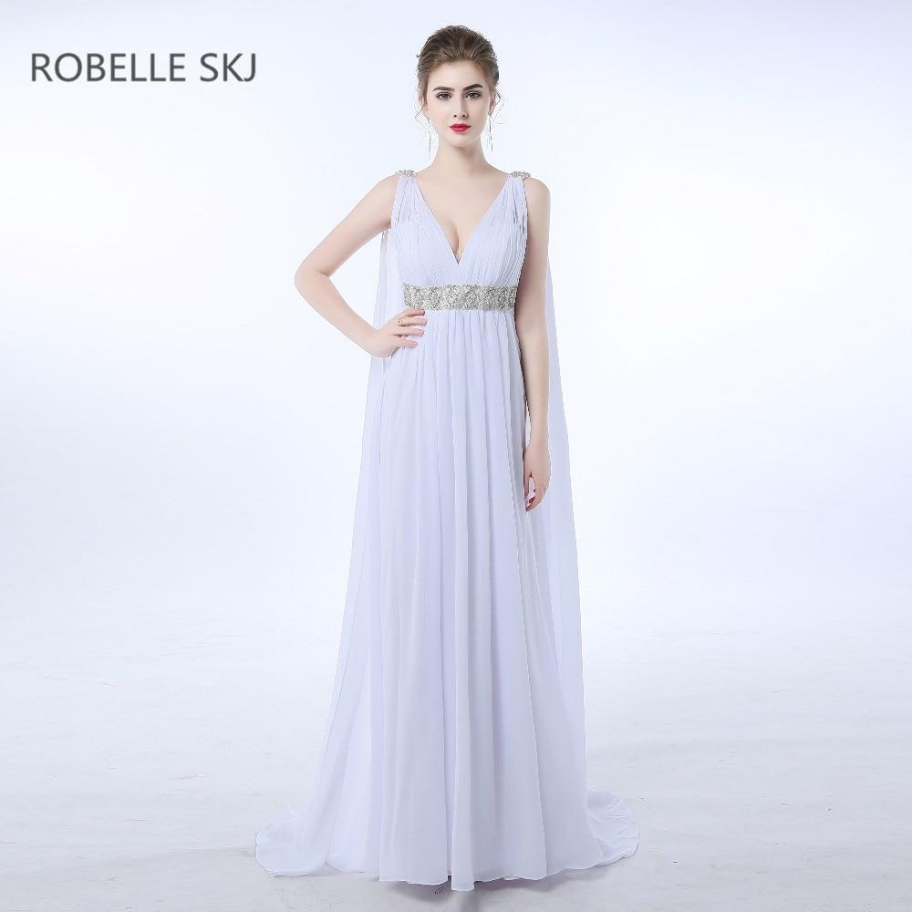 6f86106edda Шифон V образным вырезом пляжные свадебное платье Готический греческий  стиль в стиле бохо с высокой талией