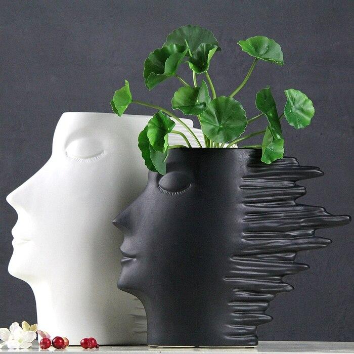 Face Plant Pot Part - 19: Modern Abstract Ceramics Human Figure Sculpture Flower Vase Decorative  Porcelain Face Plant Pot Novelty Art And Craft Ornament-in Vases From Home  U0026 Garden ...