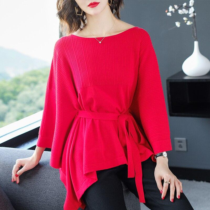Nouveau Design de mode femmes manches chauve-souris tricot vêtements lâche pull élégant femme grande taille en tricot chemise