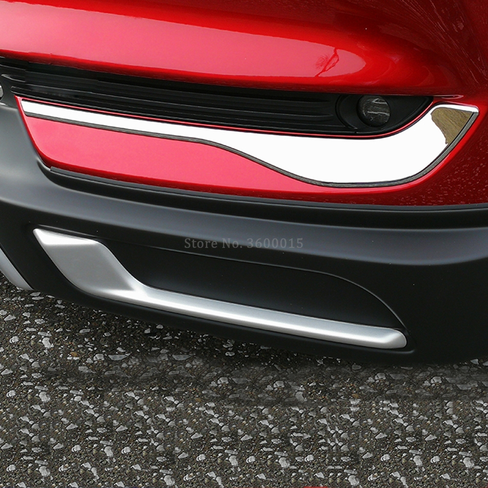 Accessories Exterior For Mazda CX 5 CX5 KF 2017 2018 2019 For Cars Chrome Front Bottom Fog Lamp Light Eyelid Bumper Trim Molding
