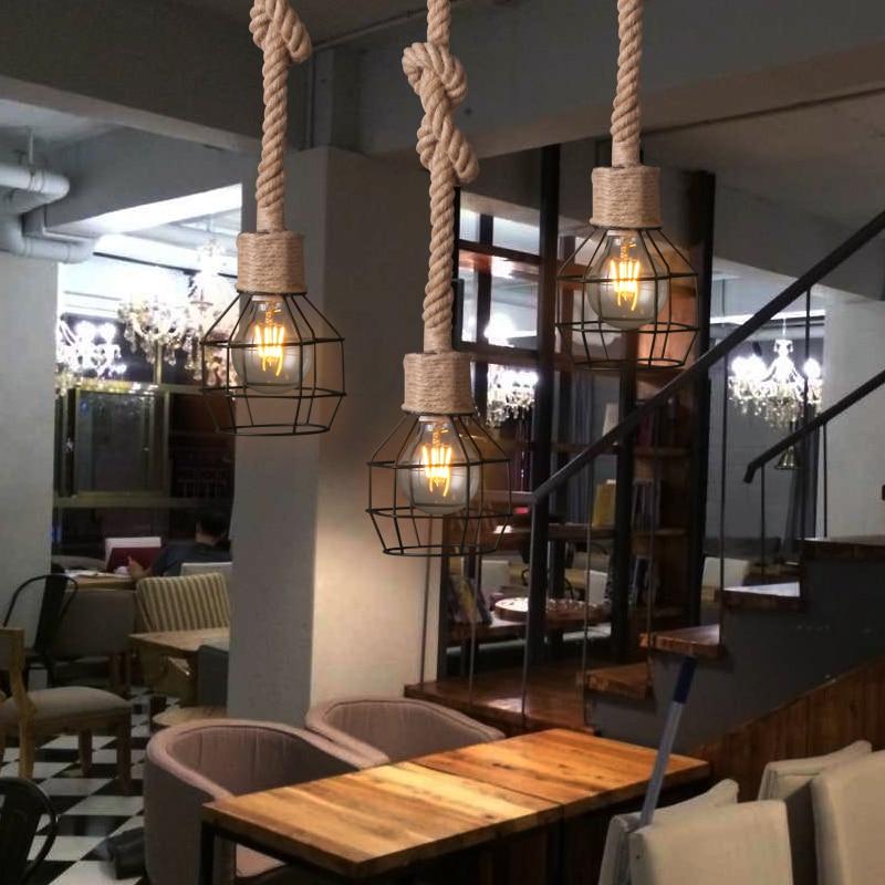 American Country Sitting Room Dining-room  Vintage Wrought Iron ART Hemp Rope Pendant Lamp