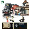 Grandes bloques de construcción de la estación de tren de tren ligero sonido 526 unids juguetes educativos sluban bloques compatibles con ladrillos lego