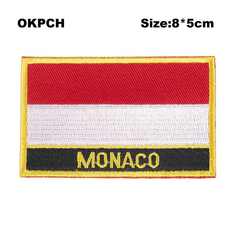 Maroc Cờ Patcheswork Vải Thêu Dán Cường Lực Cutstom DIY Dán Trên Quần Áo Với Sắt PT0131-R