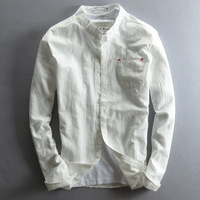 Mens Cotton Linen Casual Shirts Long Sleeve Solid Stand Collars Cotton Shirts Sexy Slim Fit Dress