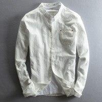 여름 남성 통기성 세척 코튼 린넨 캐주얼 아늑한 긴 소매 솔리드 스탠드 칼라 셔츠 슬림 맞춤 드레스 셔츠 남성