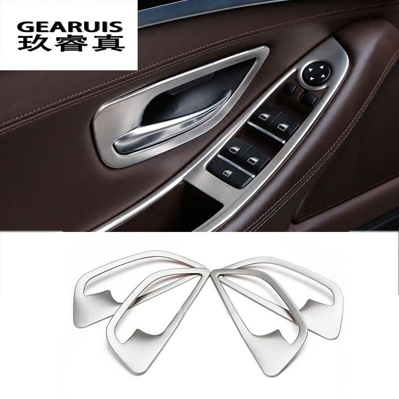 Cubierta de manija de puerta interior de estilo de coche de acero inoxidable pegatinas para cuenco de puerta decoración para BMW F10 5 series accesorios para automóviles