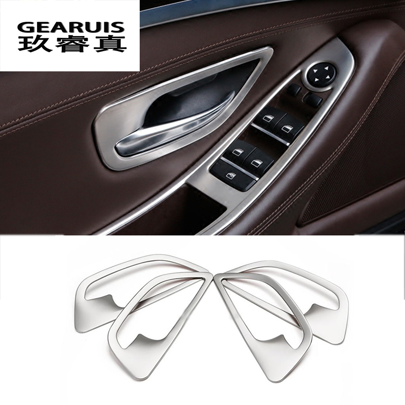Stainless Steel Car Styling Interior Door Handle Cover Trim Door Bowl Stickers Decoration For BMW F10 5 Series Auto Accessories