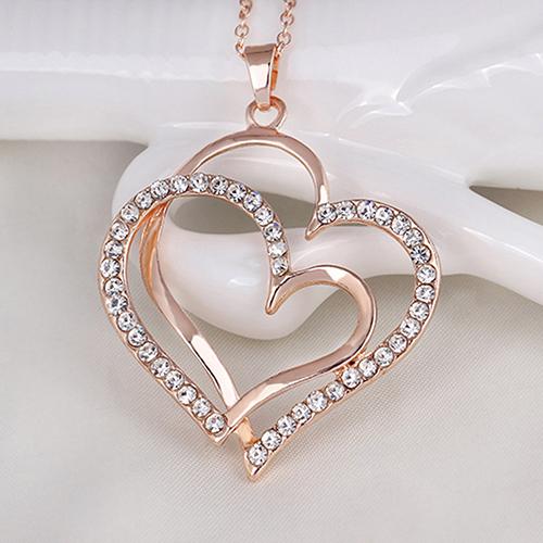 Bluelans Women's Romantic Double Love Heart Rhinestone Choker Chain Necklace Jewelry Gift