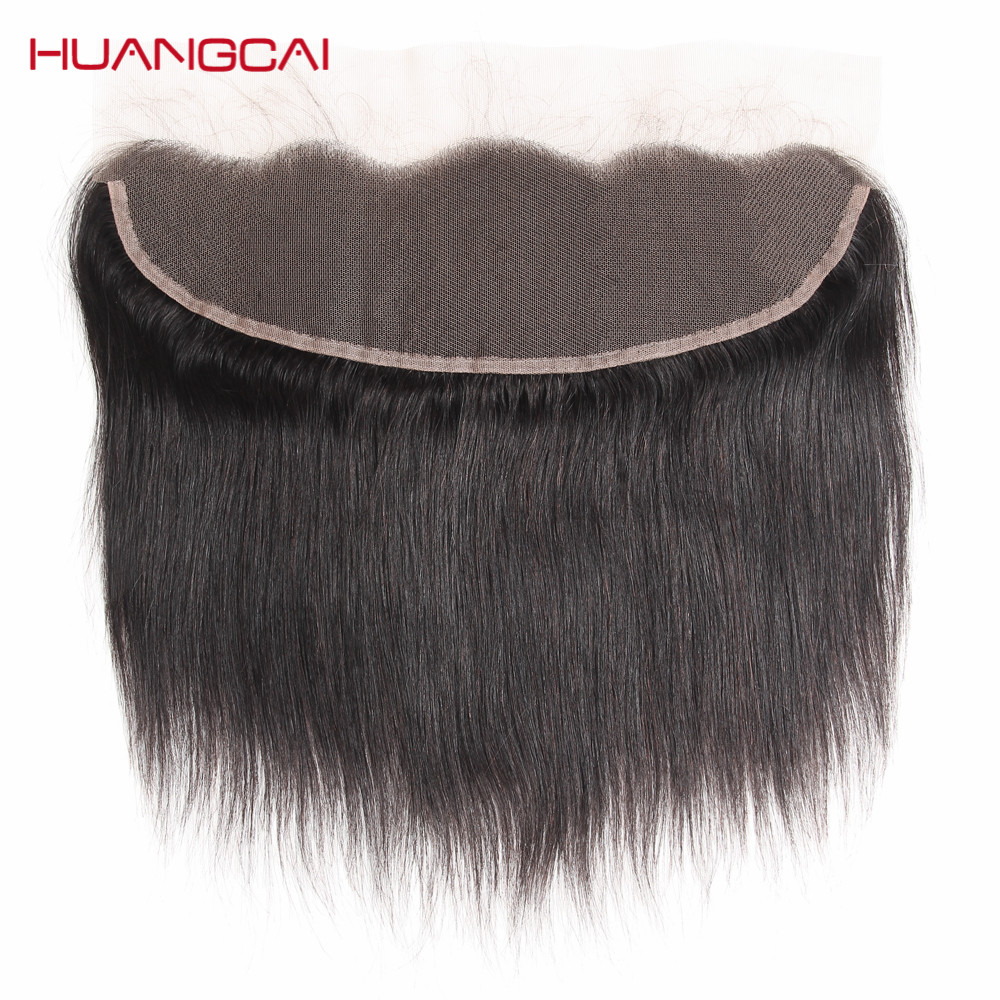 HuangCai Brazilian lace Frontal Closure Straight Human Hair 13x4 with baby hair One Bundle Ear To