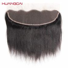 HuangCai Brazilian lace frontal closure straight human hair 13x4inch 130% density ear to ear non remy with baby hair 8-18inch