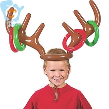 цена на Inflatable Reindeer Antler Hat With Rings Toss Game Christmas Holiday Party Kids Gift