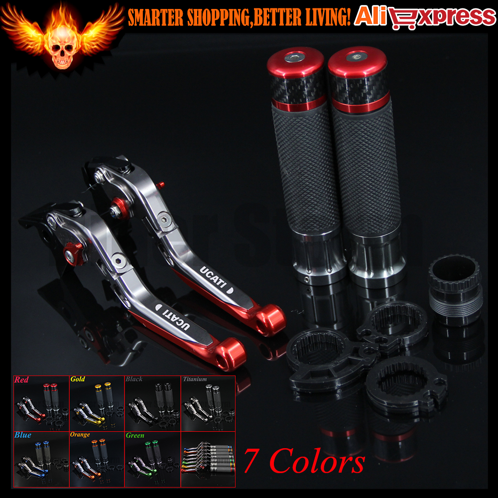 ФОТО 7 Colors Red+Titanium Motorcycle Brake Clutch Levers&Handlebar Hand Grips For Ducati MONSTER M900 1994 1995 1996 1997 1998 1999