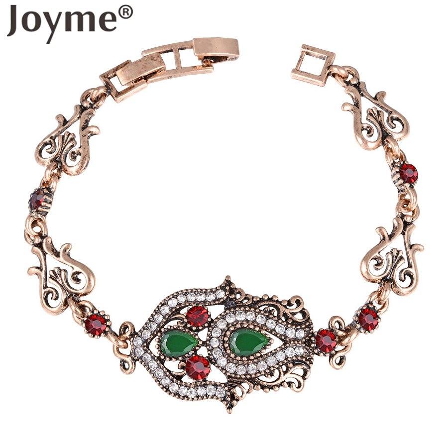 Turki Turki Joyme Baru Perhiasan Gelang Untuk Wanita Antik Emas-Warna Cuff Bracelet & Bangles Pernikahan Pulseira Feminina