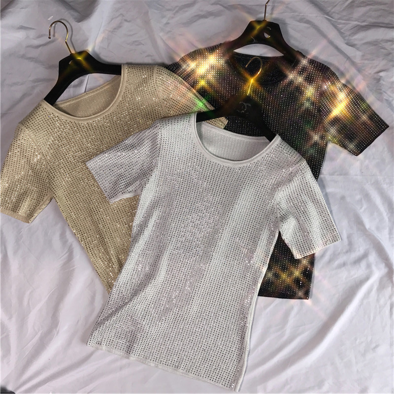 Women Luxury Diamonds Beaded Knitted Shirts 2019 Summer High Quality Golden Black Round Neck Short Sleeve T shirts Ladies Tops