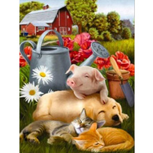 DIY pig diamond painting dog fox cat animals group dimaond embroidery full drilldiamond mosaic round drill wolf