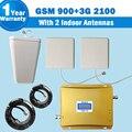 Conjunto completo 3G Ganho de 65db GSM 900 WCDMA 2100 MHz celular dual band amplificador de reforço com Antena e poder divisor