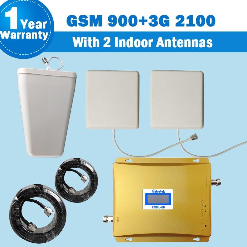 Lintratek 3G 65dB GSM 900 MHz 3G Booster WCDMA 2100 MHz double bande 900 2100 2G 3G répéteur amplificateur de téléphone portable amplificateur de Signal 46