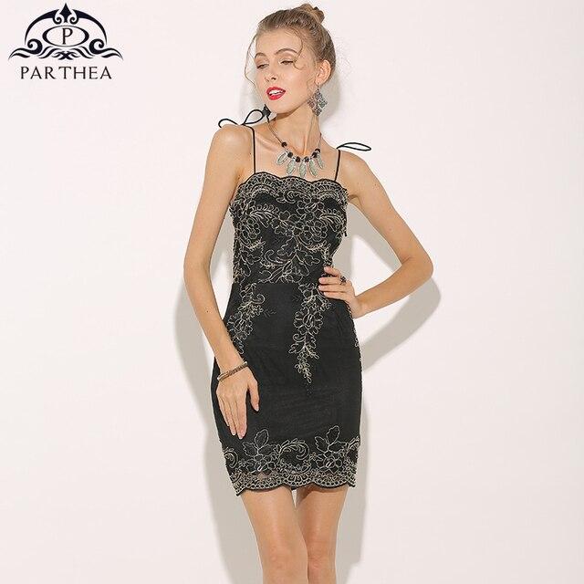 Parthea Спагетти ремень Для женщин металлик Кружево платье с вышивкой черный Платья для вечеринок Черный Новый Дамы Bow Tie Bodycon Платье Vestidos