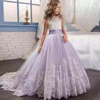 Fluffy Girls Dress Children Long Maxi Lace Embroidery Beading Dress with Band Formal Kids Vestido Puffy Boutique Clothes
