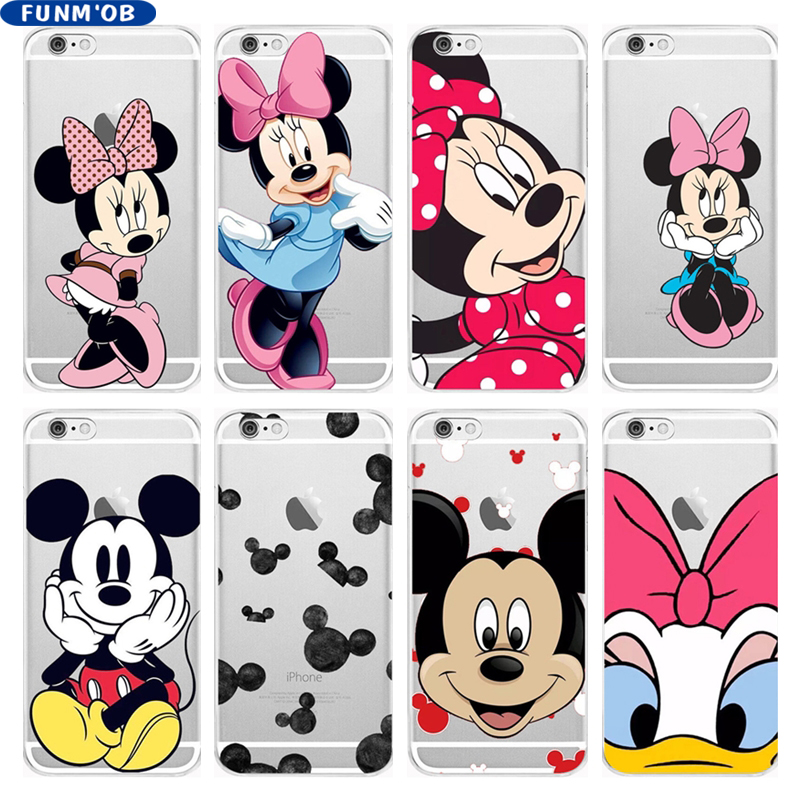 FUNMOB Cartoon Anime Mickey Minnie Mouse Soft Silicone Clear TPU Case Cover For iphone 6 6s 7 8 Plus 5 5s SE X Capinha Coque