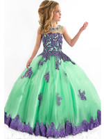 Sheer Appliqued Crystal Ball Gown Scoop Green Blue Flower Girl Dresses Beaded Little Girl Pageant Formal Gown for Wedding