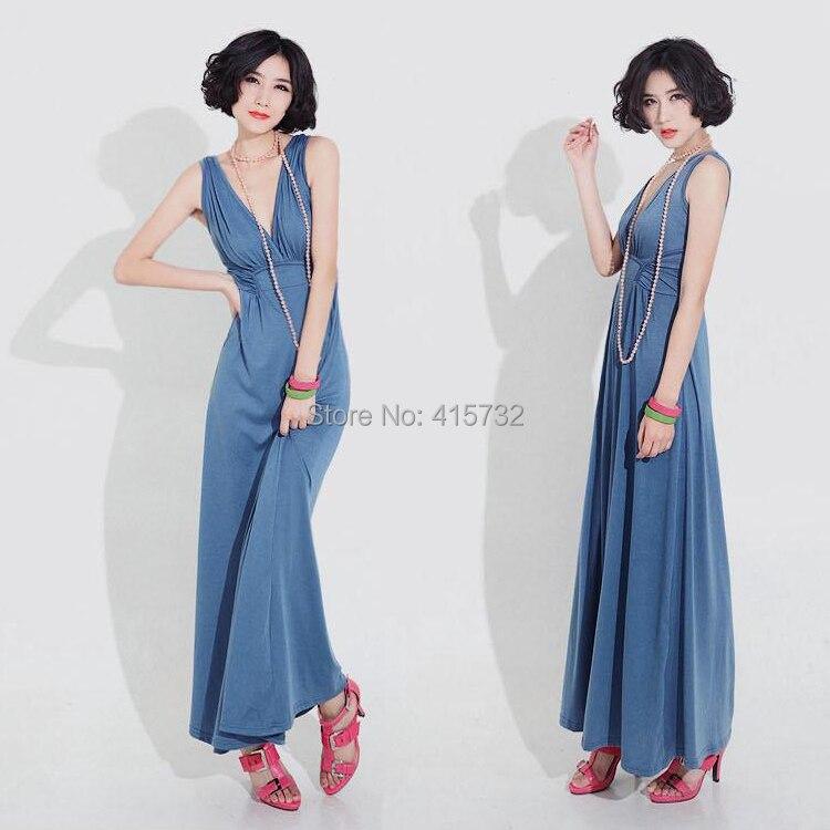Livraison gratuite 2018 nouveau mode Long Maxi été col en v grande taille sans manches XXXL plissé Sexy robes bleu et noir coton XXL