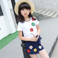 Summer Children Clothing 2018 New Lady Baby Clothes Cotton Short Sleeved Flowers Blouse Pants Skirt Girls