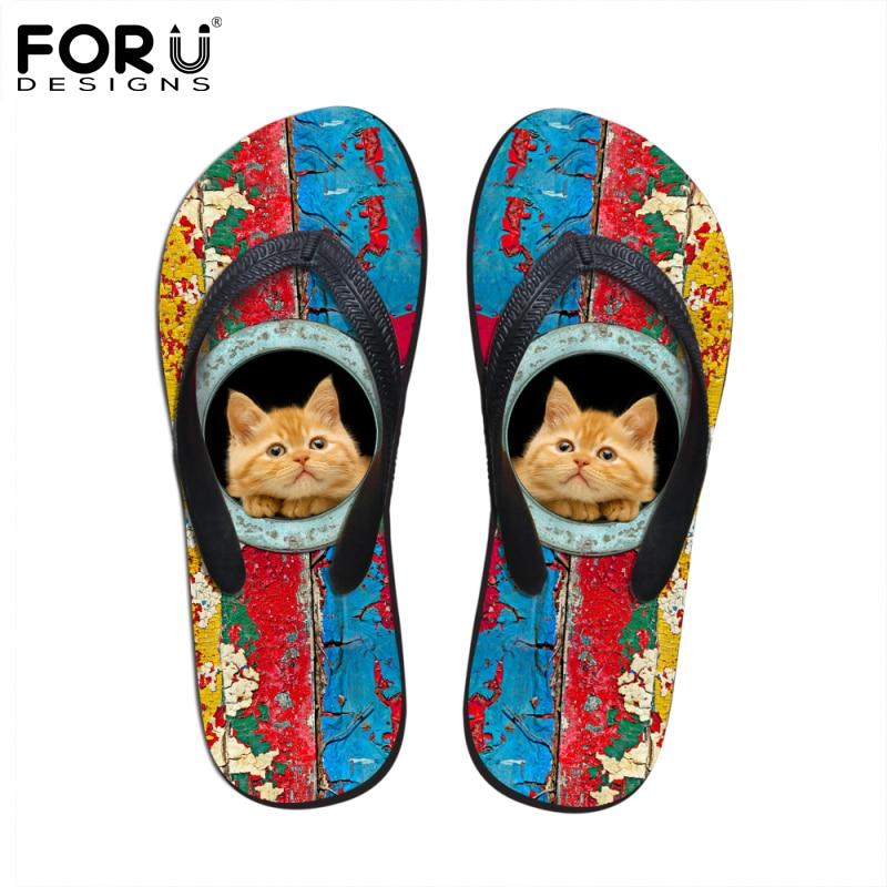 FORUDESIGNS New 2017 Fashion Women Rubber Flip Flops Cute Pet Cat Dog Printed Flip-Flops Female Summer Flipflops Beach Slipper