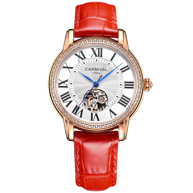 Carnival Automatic Watch Women Skeleton Mechanical Top Brand Luxury Watches Diamond Ladies Lwather Strap Clock montre femme 2019Carnival Automatic Watch Women Skeleton Mechanical Top Brand Luxury Watches Diamond Ladies Lwather Strap Clock montre femme 2019