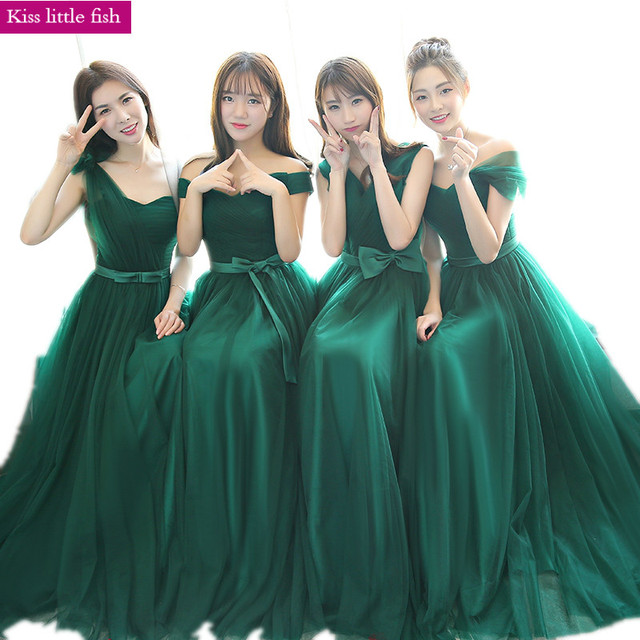 Free Shipping 2018 New Emerald Bridesmaid Dresses Long Wedding Party Dress