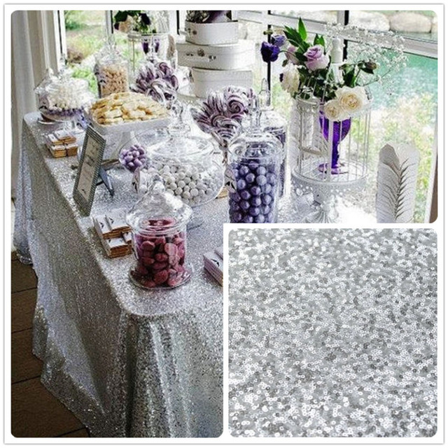 Wholesale 5PCS 90inx132inch Silver Sequin Tablecloth, 6FT Wedding Tablecloth,  Silver/Gold Glitter Tablecloth