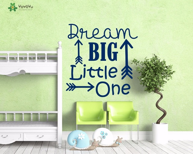 Yoyoyu wall decal dream big little one quote wall stickers for kids rooms nursery baby gift