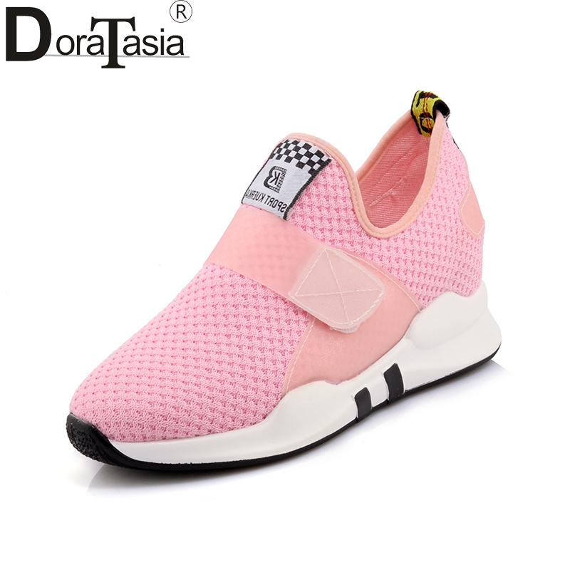 DoraTasia 2018 Summer Sweet Pink Hook And Loop Shoes Woman Plus Size 29-45 Platform Height Increasing Comfortable Women Shoes