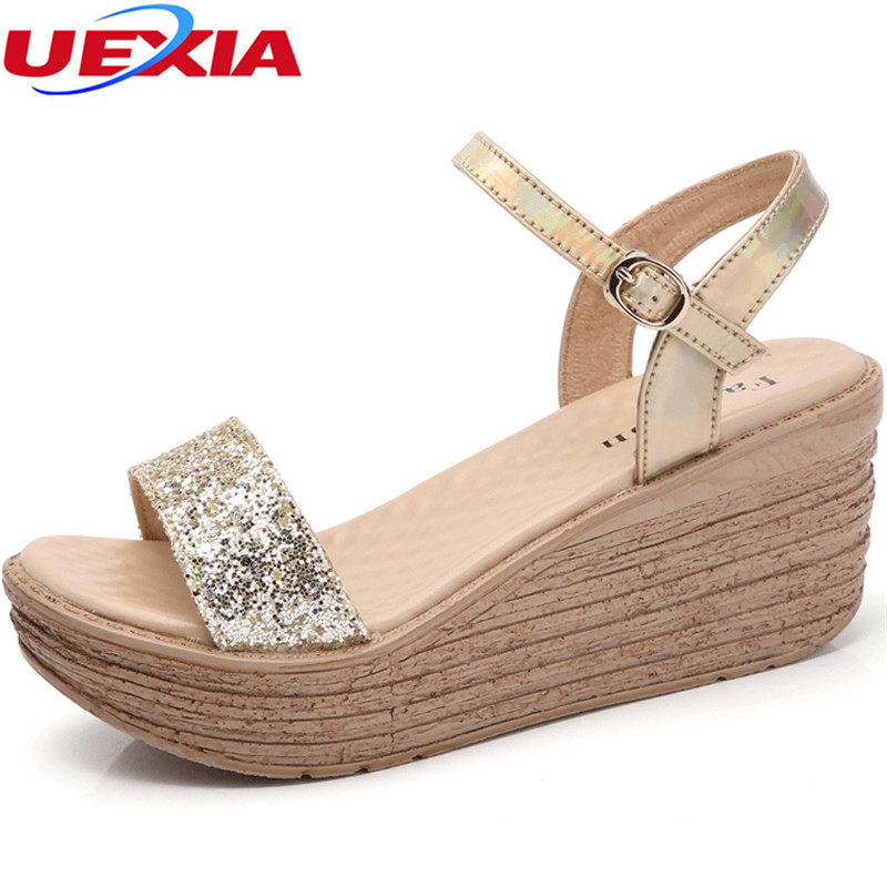UEXIA New Women sandals Platform Cork wedges summer Leather Open Toe Concise buckle button Solid Ladies Casual comfortable shoes hot 2018 summer new fashion women sandals wedges shoes high heel sandals platform open toe buckle casual shoes