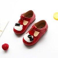 נעלי עור תינוק בנות עם קיטי חמוד מרי ג 'יין פעוטות סגנון לבן עם קשת ילדים עקב שטוח מוקסינים נעליים אדומות 21-25