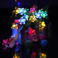 7 M 50 LED Năng Lượng Mặt Trời String Ánh Sáng 4.8 M 20LED Sakura Flower Giáng Sinh Tiên Ánh Sáng Ngoài Trời Vườn Wedding Ánh Sáng Kỳ Nghỉ Trang Trí nội thất